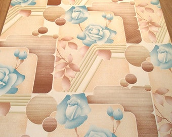 "original European vintage wallpaper ""blue rose"" full roll (old stock)"