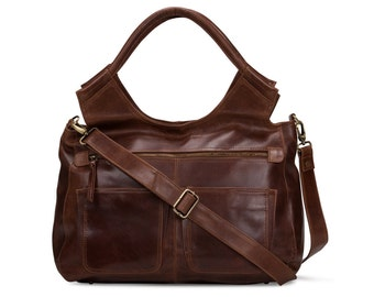 Leather Handbag Satchel - weekend travel Laptop Ipad Bag