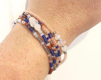 Rose Quartz Stretch Wrap Bracelet, Necklace, Stackable, Layering Accessory, Jewelry, Royal Blue, Terra Cotta, Copper, Pink, Rosaline, Gray
