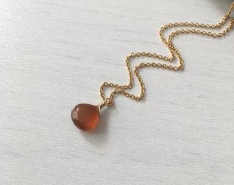 Carnelian Drop Necklace, Orange Necklace, Gold Necklace, Gold and Orange Necklace, Dainty Chain necklace, briolette necklace