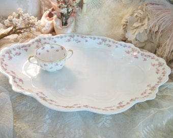 huge oval antique pink roses platter, white and pink antique china, mz austria, sunday dinners, holiday serving piece, handled ends, huge