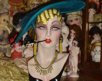 Sultry Blonde Smoking Flapper Mannequin Head Hat Stand Jewelry Display