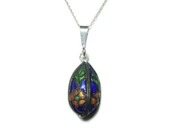 Cloisonne sterling silver pendant and chain