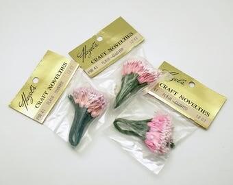 Vintage Stamens Flower Pips Pink Floral Clusters