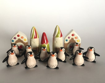 SMALL Penguin Terrarium Prop Party Favor Art Embellishment