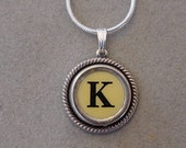 Typewriter key jewelry necklace CREAM  LETTER K  Typewriter Key Necklace - Initial K serif font Initial Necklace