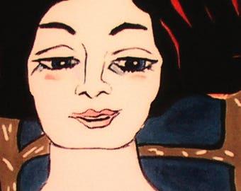 fine art print figurative woman brunette expressionist print female portrait dark blue and brown home decor wall decor