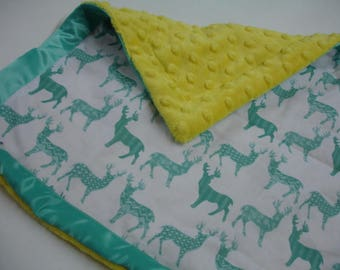 Meadow Deer Teal and Yellow Satin Trimmed Minky Lovey 14 X 14 READY TO SHIP On Sale