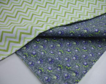 Daisy Chain Purple Gray Lime Baby Receiving Blanket 20 x 22 READY TO SHIP