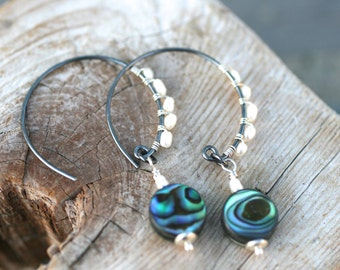 Abalone Shell and White Freshwater Pearl Wire Wrapped Oxidized Sterling Silver Hoop Earrings, Paua Shell Earrings, Pearl and Abalone Jewelry