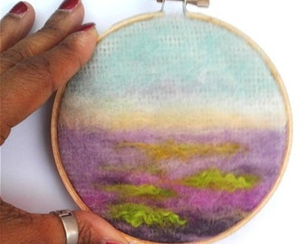 """Embroidery Hoop Lavender Fields Needle Felting 4"""" READY TO SHIP"""