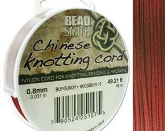 Burgundy Chinese Knotting Cord (.8mm/.031in) 15m/16.4yds