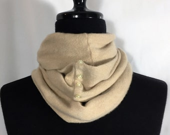 Infinity Cashmere Wool Scarf made from an upcycled tan sweater