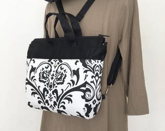 4 WAYS bag / Tote / Cross Body / Shoulder / Backpack - Traditions White