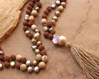 RESERVED + Hand Knotted Mala + Rudraksha Seed, Pearl, Tulsi + Baroque Saltwater Pearl + Meditation + Spiritual Practice + Mantra + Japa