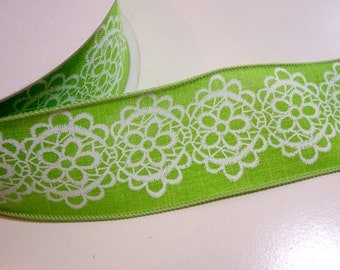Green Ribbon, Citrus Green Wired Fabric Ribbon 2 1/2 inches wide x 25 yards, Full Bolt of Lion Brand Bristol Ribbon