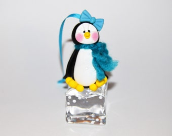 Penguin on Ice Cube Polymer Clay Christmas Ornament