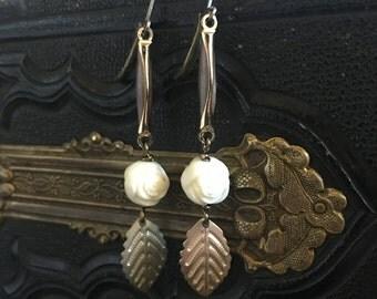 Branch Vintage earrings jewelry flower leaf enamel link repurposed