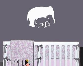 Elephant Vinyl Wall Decal - Mom and Baby Elephant Nursery Bedroom - Safari Jungle Vinyl Wall Art Room Decor - CA111
