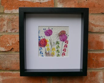 Original, handmade wall art made from handmade papers and fabric, embroidered flowers wall decor, Pink Flowers and Foxgloves