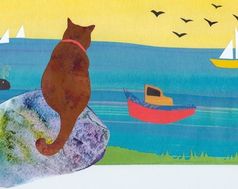 Sea Cat - Cat Sitting by Ocean - Original Collage from Hand Painted Papers