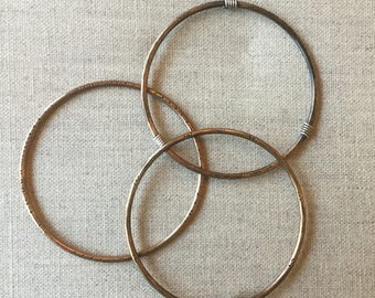 Bronze Bangle Bracelet Set with Sterling Accents