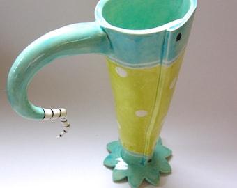 whimsical polka-dot pottery Pitcher, light turquoise & chartreuse polka-dot summer decor beach house, fresh flower vase