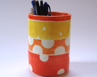 whimsical bright orange Pottery vase, Kitchen Utensil Holder, office desk pencil cup with chatreuse & big polka dots
