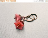 30% OFF SALE Rose Pink Flower Bead Earrings Czech Glass Flower Earrings Small Rustic Earrings Antique Copper Bohemian Jewelry Gift for Her G