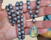 Grey Quartz Drusy Stone Necklace Hand knotted Mala Rainbow Labradorite Pendant Drop