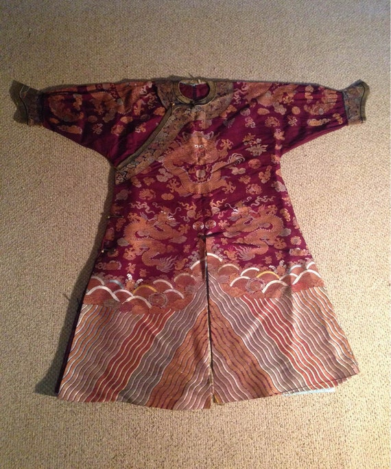 Qing Dynasty Chinese Silk Imperial Court Dragon Robe
