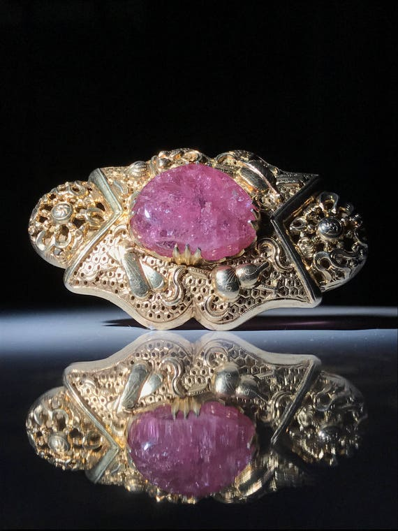 1895-1900 Chinese Sterling Silver Brooch with Pink Tourmaline