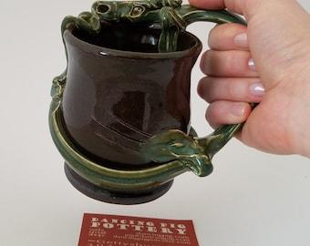 Right Handed Dragon Mug - Renn faire gift - game of thrones - larp sca D&D - beer mug - Father gift - handmade ceramic mug - unique gift -