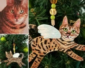 Custom Cat Angel Ornament ~ Cat Portrait Ornament ~ Cat Memorial ~ Christmas Ornament ~ Cat Gift ~ Cat Angel ~ Gift Box and Ribbon