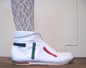 20% OFF SALE size 9.5, 1980s White Leather Ankle Boots with MOD colorful Zippers - vintage New Wave, Punk, Hipster booties - Joan & David, m