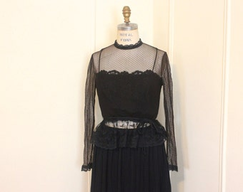 dark illusions, vintage 1980s black lace blouse & chiffon skirt - 2pc dress, goth, Victorian Revival,  black magic - size small to medium