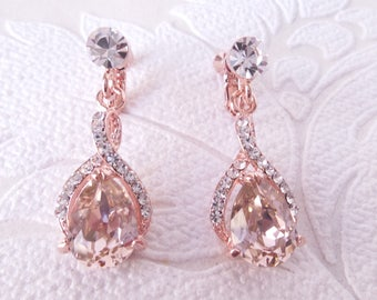 Blush Rose Gold Plated Pierced or Clipon Earrings with Swarovski Crystal for 1920s Wedding Jewelry Art Deco Bridal Clip Ons Bridesmaid Gift
