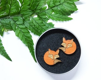 Fox Earrings, Fox Stud, Fox Jewellery, Wooden Studs, Fox Gifts for Her, Valentines Day Jewellery, Foxy Jewellery, Quirky Earrings