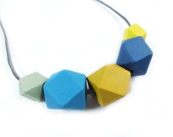 Wooden Necklace, Wooden Bead Necklace, Geometric Necklace,  Blue and Mustard Jewellery, Teething Necklace, Gift For Her, Blue Tit