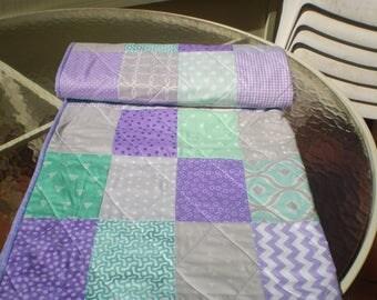 Handmade Baby Quilt, Mint, Grey, Purple, patchwork Crib Quilt, Baby Girl Quilt, Crib Bedding, Chevron Quilt, lavender, toddler, Mint n Lilac