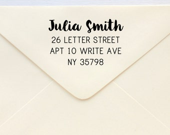 Custom Address Stamp - Return Address Stamp - Brush Script-Brush Calligraphy