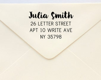 Custom Rubber Stamp - Custom Address Stamp - Return Address Stamp - Personalised Address Stamp - Gift - Brush Calligraphy