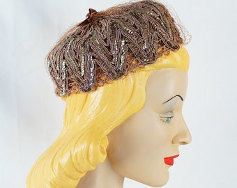 Vintage 1960s Hat Taupe Silk Cord with Clear Sequins and Netting Pillbox