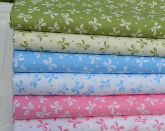 4376 - Bow-knot Cotton Fabric - 62 Inch (Width) x 1/2 Yard (Length)