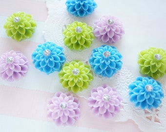 SALE 12 pcs Dahlia Flower Cabochon (19mm) FL263 Blue Set