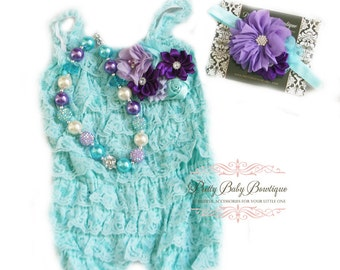 Cake Smash Birthday Girl Aqua Blue Teal Lace Romper Headband Necklace SET, Lavender Purple and Blue Petti Rompe Baby Girl Outfit, Photo Prop