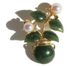 Vintage Swoboda Brooch Jade & Pearls Flower Vase Pin