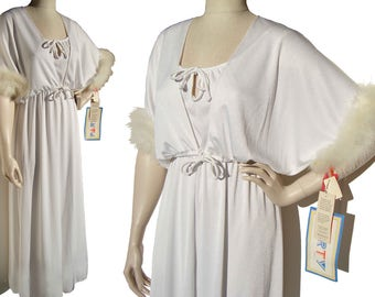Vintage 70s Gown Bolero White Dress & Marabou Jacket NOS - M