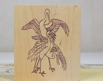 Wood Mounted Rubber Stamp, Japanese Cranes, Gently Used