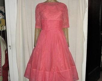 Vintage 50s Dark Pink Chiffon Prom Dress S Full Skirt Lace Jacket